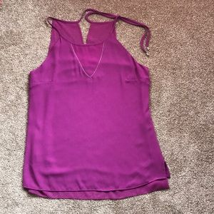 WHBM purply pink lined top w sequin V size small